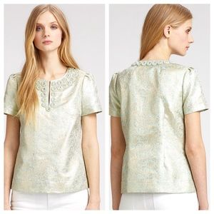 Tory Burch Lola Embellished Brocade Top